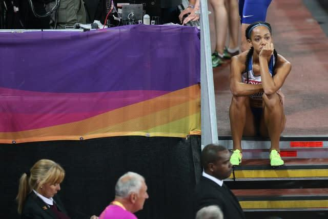 Johnson-Thompson's dejection was obvious after her event at the 2017 championships in London (Jonathan Brady/PA)