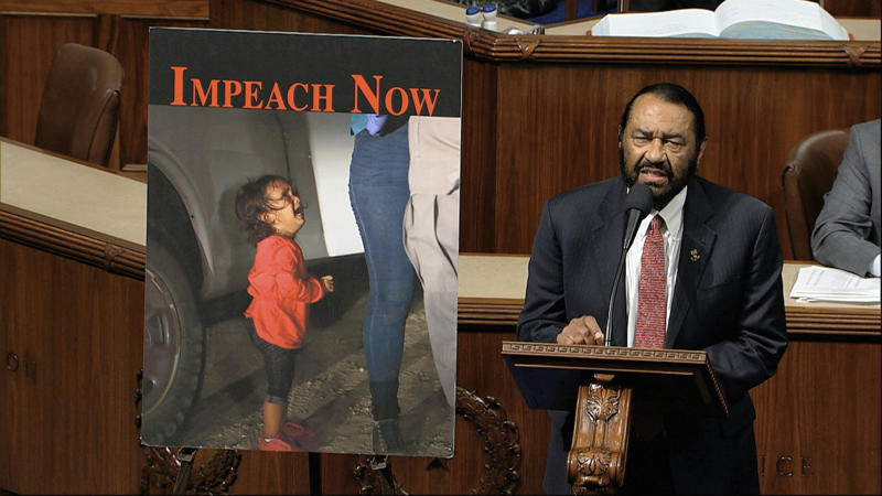 Rep. Al Green, D-Texas, speaks as the House of Representatives debates the articles of impeachment against President Donald Trump at the Capitol in Washington, Wednesday, Dec. 18, 2019. (Photo: House Television via AP)
