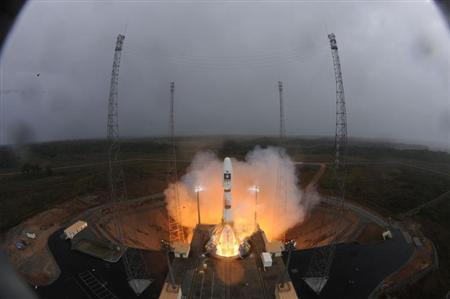 The Soyuz VS01 lifts off carrying the first two satellites in Europe's Galileo global positioning system, at the Guiana Space Center in Sinnamary