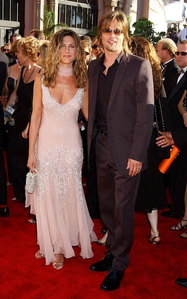 Jennifer Aniston and Brad Pitt at the 54th Annual Primetime Emmy Awards in Los Angeles on September 22, 2002.