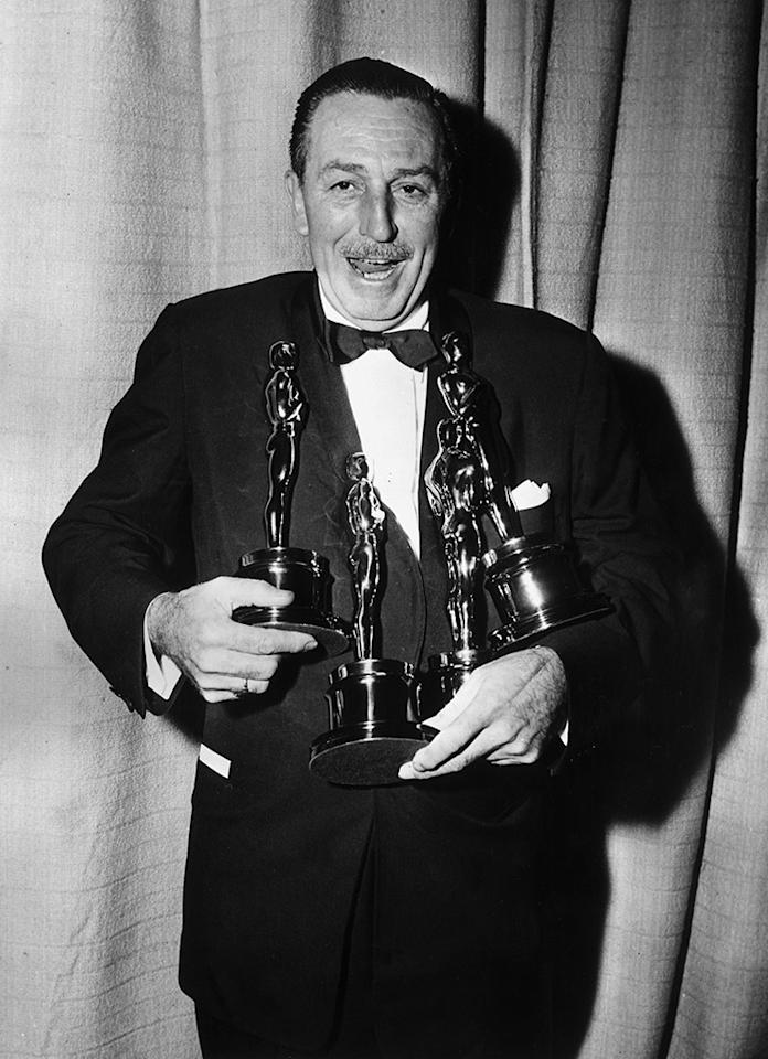 <p>The man behind the Mouse House holds the all-time record for Academy Award wins (22) and nominations (59). The vast majority of those wins (20, to be exact) came for producing short-form cartoons, while the other two came for producing documentaries. Disney won four alone in 1954, also an Oscars record. (He was also recognized with an additional four honorary awards, including, yes, one for creating Mickey Mouse.) (<i>Credit:Hulton Archive/Getty Images)</i></p>