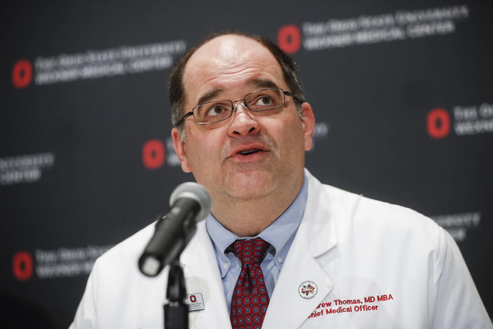 """FILE - In this Nov. 29, 2016, file photo, Dr. Andrew Thomas, Chief Medical Officer at the Ohio State University Wexner Medical Center, speaks during a news conference in Columbus, Ohio. Thomas said Wednesday, July 14, 2021, that nine of every 10 central Ohioans being hospitalized for the coronavirus are partially vaccinated or unvaccinated. Meanwhile, Dr. Bruce Vanderhoff, chief medical officer for the Ohio Department of Health, said coronavirus vaccination trends have led to the development of """"two Ohios"""" just as the highly contagious delta variant spreads widely. (AP Photo/John Minchillo, File)"""