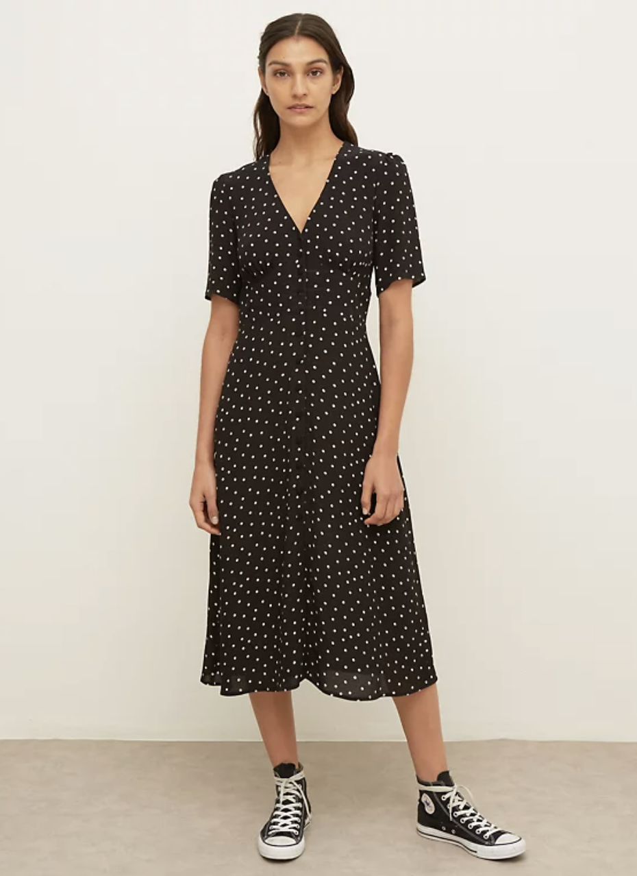 Polka Dot V-Neck Midi Dress (Nobody's Child/M&S)