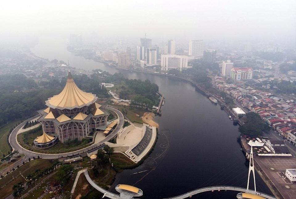 An aerial view of Kuching. Sarawak Transport Minister Datuk Lee Kim Shin said the ministry noted that better bus systems would create better cities and towns for the people. — Bernama pic