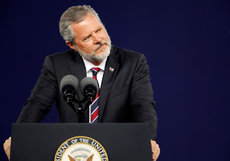 Liberty University President Jerry Falwell Jr. pauses during the school's commencement ceremonies in Lynchburg, Virginia, on May 11, 2019.  (Photo: Jonathan Drake / reuters)