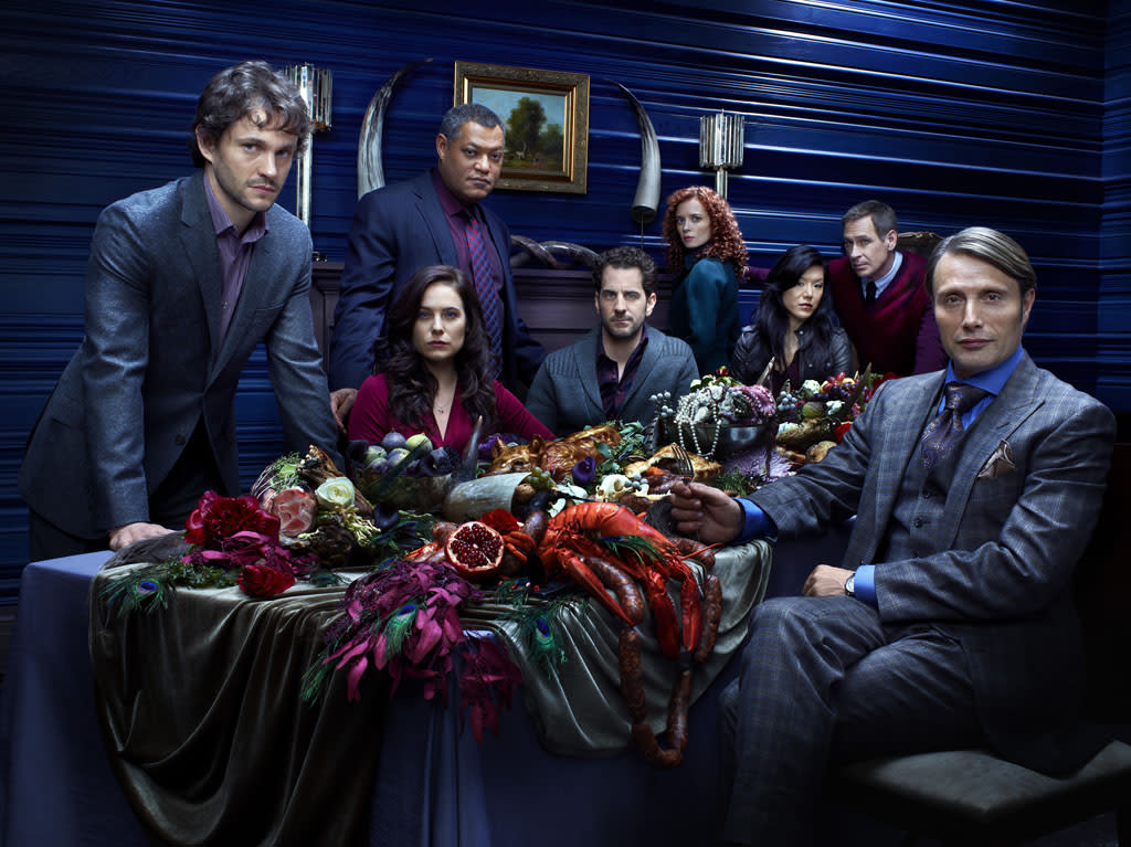 "Hugh Dancy as Special Agent Will Graham, Caroline Dhavernas as Dr. Alana Bloom, Laurence Fishburne as Agent Jack Crawford, Aaron Abrams as Brian Zeller, Lara Jean Chorostecki as Freddie Lounds, Hettienne Park as Beverly Katz, Scott Thompson as Jimmy Price, and Mads Mikkelsen as Dr. Hannibal Lecter in ""Hannibal"" on NBC."
