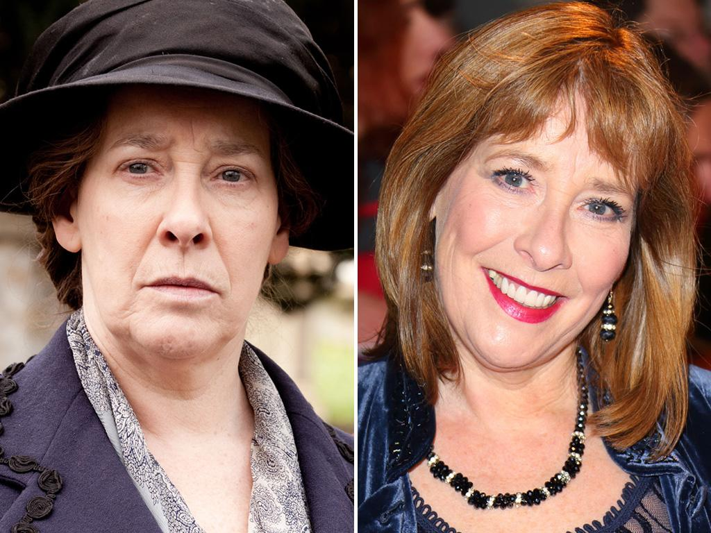 """<p>This might be the biggest transformation of the whole lot: <strong>Phyllis Logan</strong> is anything but glamorous as """"Downton's"""" housekeeper Mrs. Hughes, but she looks positively luminous in real life.</p>"""