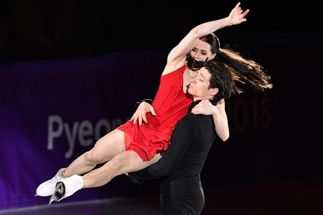 <p>Canada's Tessa Virtue and Canada's Scott Moir perform during the figure skating gala event during the Pyeongchang 2018 Winter Olympic Games at the Gangneung Oval in Gangneung on February 25, 2018. / AFP PHOTO / Mladen ANTONOV (Photo credit should read MLADEN ANTONOV/AFP/Getty Images) </p>