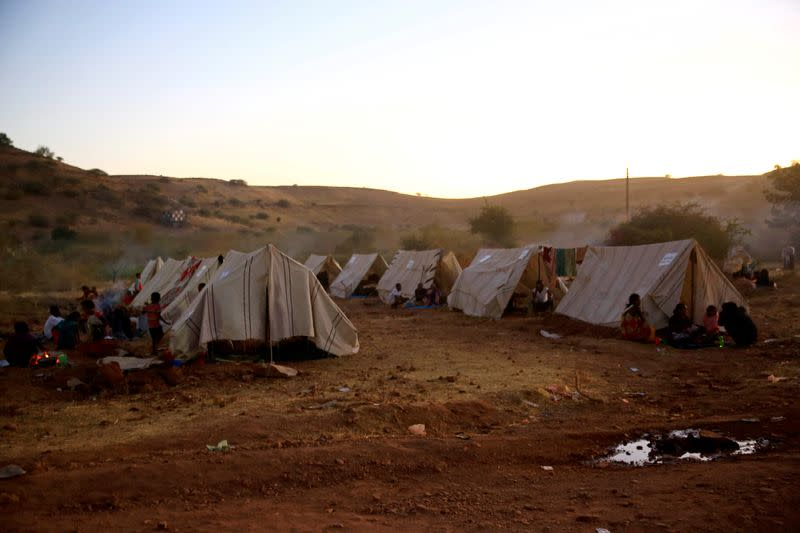 FILE PHOTO: Tents belonging to Ethiopian refugees fleeing from the ongoing fighting in Tigray region, are seen at the Um-Rakoba camp, on the Sudan-Ethiopia border, in the Al-Qadarif state