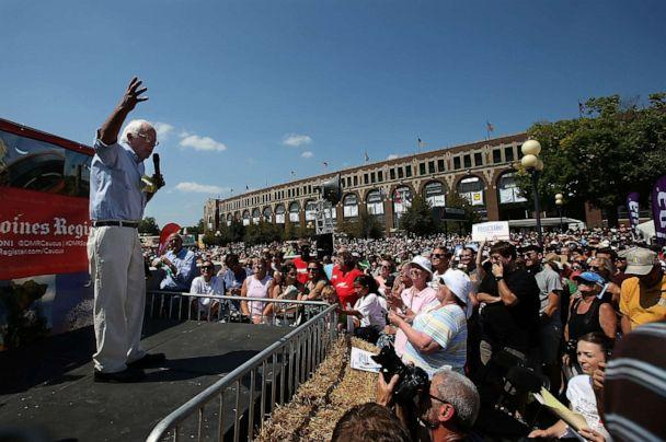 PHOTO: Democratic presidential candidate Sen. Bernie Sanders speaks to a crowd at the Iowa State Fair on Aug. 15, 2015, in Des Moines, Iowa. (Justin Sullivan/Getty Images, FILE)
