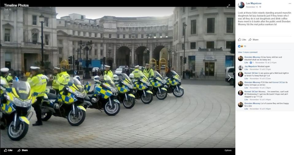 <em>Cheeky – Mapstone has even posted pictures of officers while on the run in London (Picture: SWNS/Facebook)</em>
