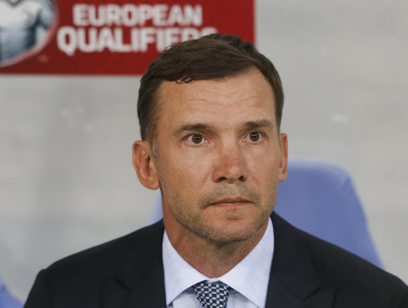 Ukraine's head coach Andriy Shevchenko looks on before the the Euro 2020 group B qualifying soccer match between Ukraine and Serbia at the Arena Lviv stadium in Lviv, Ukraine, Friday, June. 7, 2019. (AP Photo/Efrem Lukatsky)
