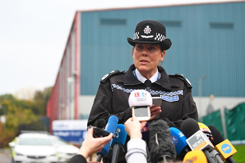Deputy Chief Constable Pippa Mills speaks to the media at the Waterglade Industrial Park in Grays, Essex, after 39 bodies were found inside a lorry on the industrial estate.