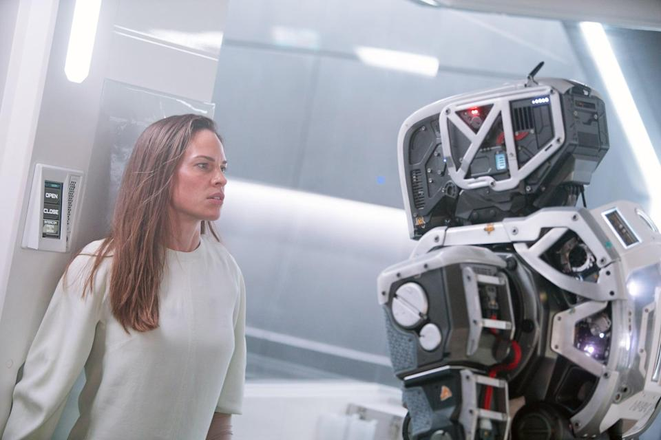 """<p><strong>What to expect:</strong> Starring <a class=""""link rapid-noclick-resp"""" href=""""https://www.popsugar.com/Hilary-Swank"""" rel=""""nofollow noopener"""" target=""""_blank"""" data-ylk=""""slk:Hilary Swank"""">Hilary Swank</a> and Rose Byrne, this sci-fi thriller tells the story of a teenage girl raised by a robot designed to repopulate the earth, but an unexpected encounter with a gravely wounded human woman forces the teen to question everything she was told by her robot Mother about the outside world.</p> <p> <strong>Notable gore:</strong> A woman stumbles into a bunker with a bleeding gunshot wound, the robot mother gets shot at with a gun, and more.</p> <p><a href=""""http://www.netflix.com/title/80227090"""" class=""""link rapid-noclick-resp"""" rel=""""nofollow noopener"""" target=""""_blank"""" data-ylk=""""slk:Watch I Am Mother on Netflix."""">Watch <strong>I Am Mother</strong> on Netflix.</a></p>"""