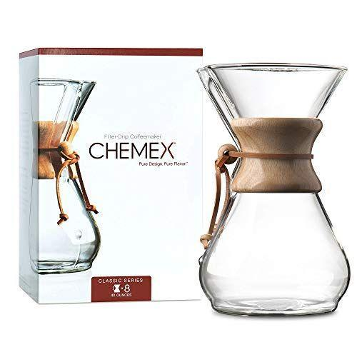 """<p><strong>Chemex</strong></p><p>amazon.com</p><p><strong>$46.68</strong></p><p><a href=""""https://www.amazon.com/dp/B000I1WP7W?tag=syn-yahoo-20&ascsubtag=%5Bartid%7C2139.g.37612148%5Bsrc%7Cyahoo-us"""" rel=""""nofollow noopener"""" target=""""_blank"""" data-ylk=""""slk:BUY IT HERE"""" class=""""link rapid-noclick-resp"""">BUY IT HERE</a></p><p>Those who love coffee love Chemex. The pour-over brewer is sleek and simple to use, making up to 8 cups of strong coffee in mere minutes. Plus, it's almost therapeutic to pour the steaming water over the grounds and watch them brew.</p>"""