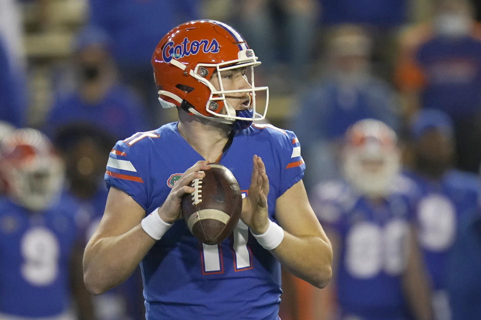 Florida quarterback Kyle Trask looks still has lots to prove heading into a showdown against Alabama. (AP Photo/John Raoux)