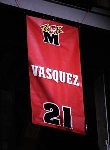 Ex-Maryland star Greivis Vasquez had his jersey retired Sunday at the Comcast Center