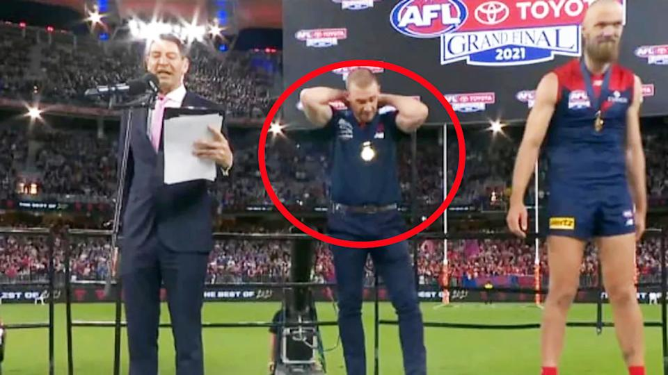 Basil Zempilas, pictured here forgetting to let Simon Goodwin deliver his victory speech.
