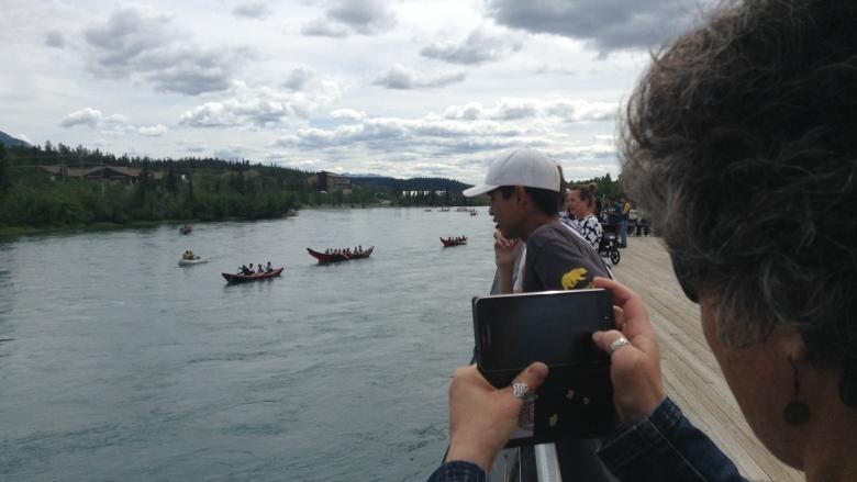 Paddling with their ancestors: Yukon First Nations hit the ocean in traditional canoe
