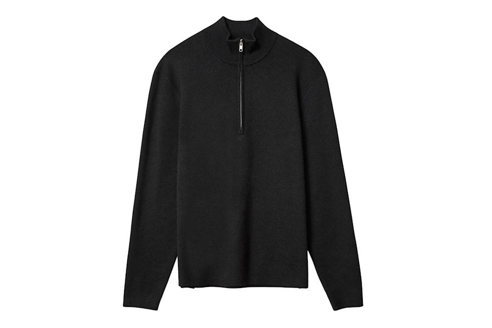 """<p>Depending on how you wear it, a half-zip sweater can be a turtleneck, a v-neck, or a polo. That's three sweaters for the price of one.</p> <p><em>Everlane no-sweat half-zip sweater</em></p> $98, Everlane. <a href=""""https://www.everlane.com/products/mens-no-sweat-half-zip-sweater-new-black?collection=mens-sale"""" rel=""""nofollow noopener"""" target=""""_blank"""" data-ylk=""""slk:Get it now!"""" class=""""link rapid-noclick-resp"""">Get it now!</a>"""