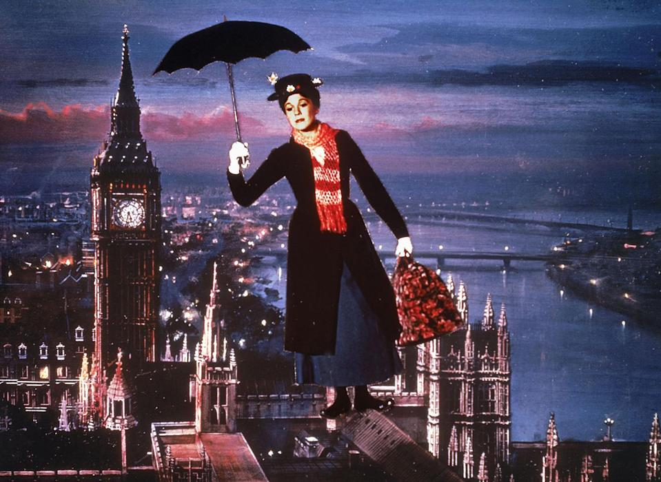 Julie Andrews in the original Mary Poppins that never filmed in London, unlike the sequel which was made entirely in the UK's capital city. (Disney)