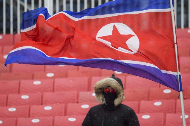 JCB208 SASL. Daegwallyeong-myeon (Korea, Republic Of), 13/02/2018.- A North Korean flag flies before the Women's Slalom race at the Yongpyong Alpine Centre during the PyeongChang 2018 Olympic Games, South Korea, 14 February 2018. The Women's Slalom race is being canceled due to weather conditions. (Corea del Sur) EFE/EPA/JEAN-CHRISTOPHE BOTT