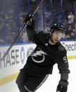 Tampa Bay Lightning center Tyler Johnson (9) celebrates his goal against the Nashville Predators during the second period of an NHL hockey game Saturday, Oct. 26, 2019, in Tampa, Fla. (AP Photo/Chris O'Meara)