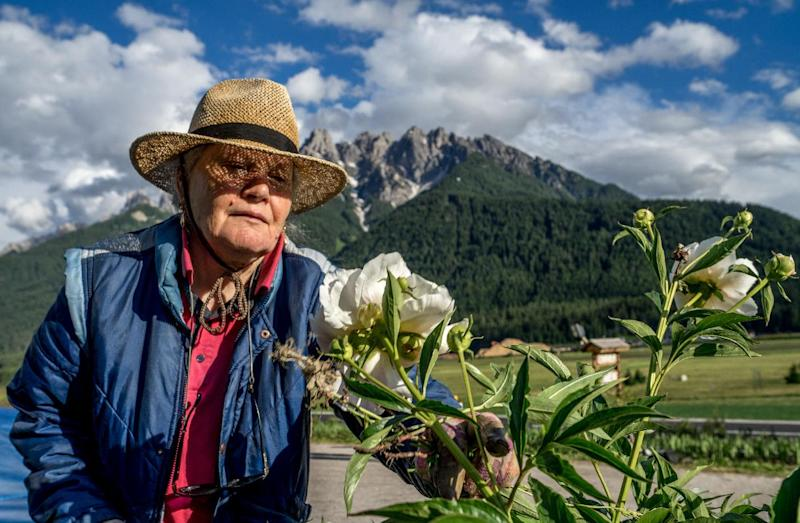 Sieglinde Taschler, 79, is tends to the flowers on June 25, 2014 at her hotel at the village of Toblach ( Dobbiaco) in South Tyrol, Italy's German-speaking northern region