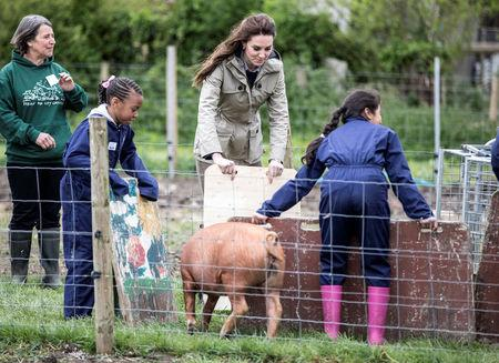 "Britain's Catherine, The Duchess of Cambridge helps children from Vauxhall primary school as they attempt to herd a pig into a pen during a visit to a ""Farms for Children"" farm in Gloucestershire"