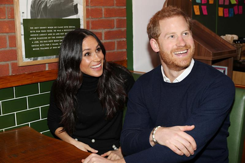 Meghan Markle and Prince Harry visit a cafe and social business called Social Bite. (POOL New / Reuters)