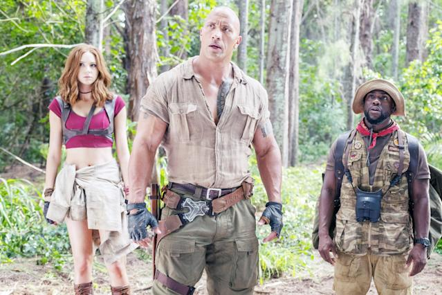 Karen Gillan, Dwayne Johnson, and Kevin Hart star in <em>Jumanji: Welcome to the Jungle</em>. (Photo: Everett Collection)