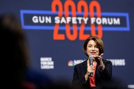 U.S. Democratic presidential candidate, Sen. Amy Klobuchar (D-MN) responds to a question from an audience member during a forum held by gun safety organizations the Giffords group and March For Our Lives in Las Vegas,