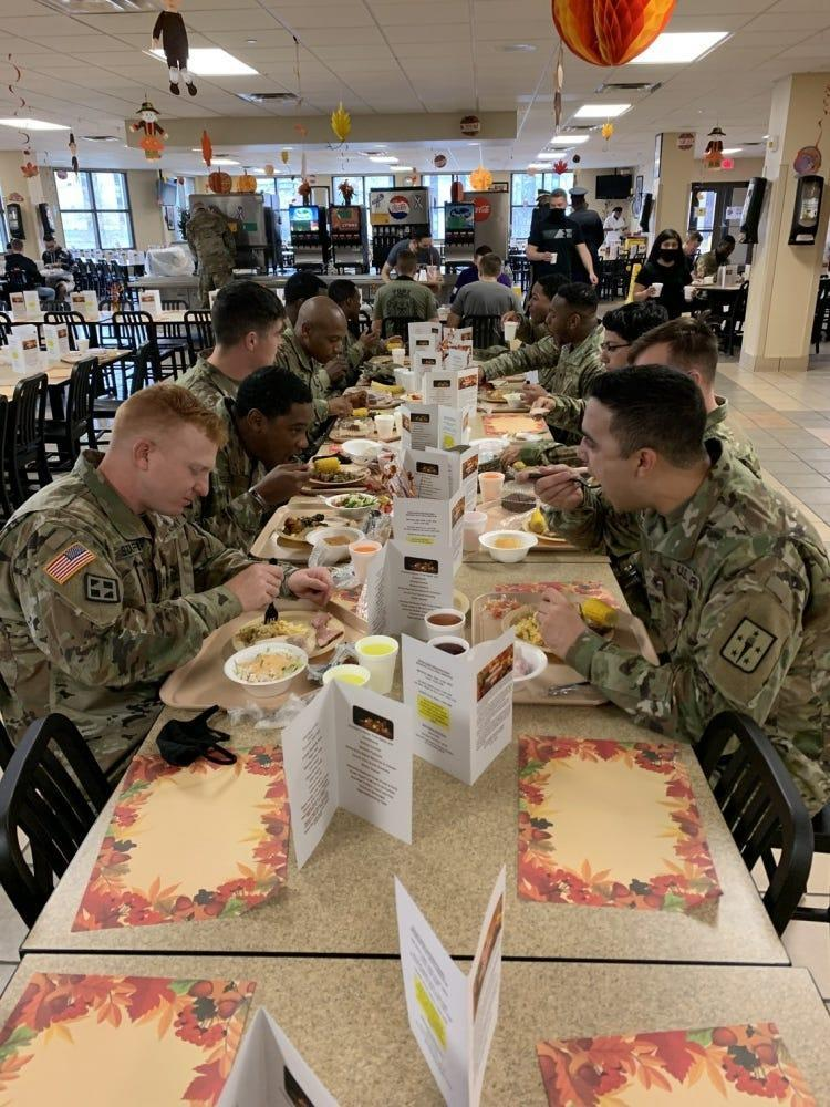 Military students at Fort Lee gathered, albeit socially distanced, to celebrate Thanksgiving.