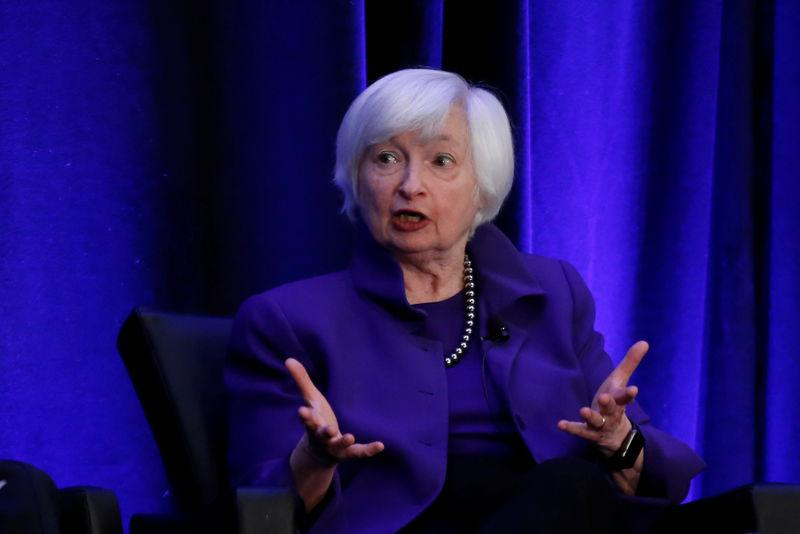 Former Federal Reserve Chairman Janet Yellen speaks during a panel discussion in Atlanta