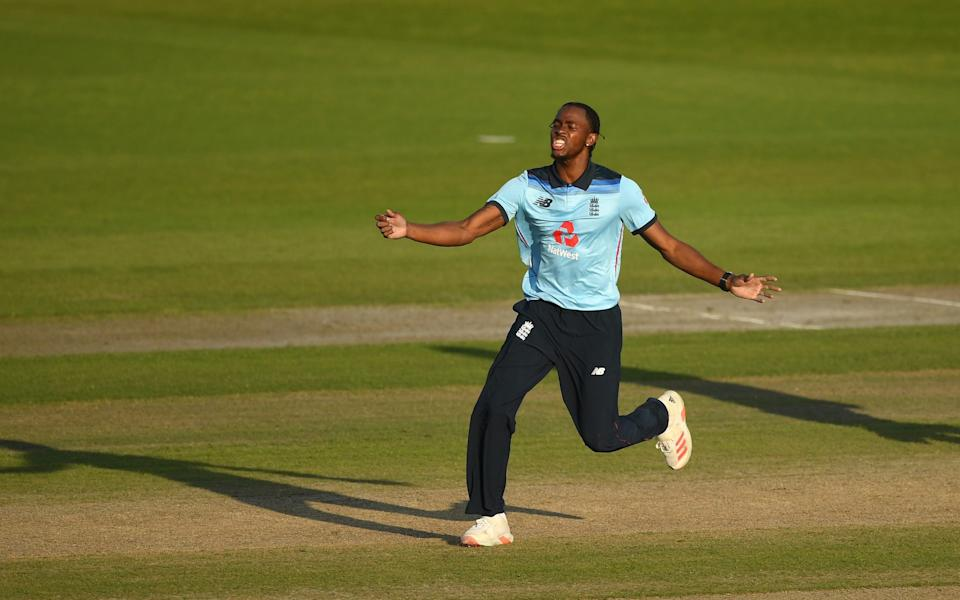 Jofra Archer of England reacts during the 2nd Royal London One Day International Series match between England and Australia at Emirates Old Trafford on September 13, 2020 in Manchester, England. - GETTY IMAGES