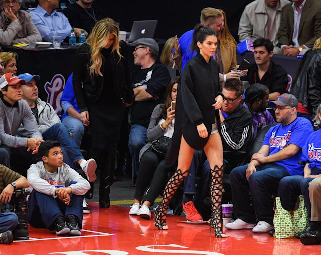 Kendall Jenner attends a basketball game between the Houston Rockets and the Los Angeles Clippers at Staples Center on May 8, 2015. (Photo: Noel Vasquez/GC Images)