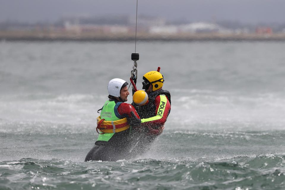 New South Wales Police Force and Surf Life Saving Australia personnel participate in an emergency management rescue exercise at Botany Bay hosted by the Sydney Airport, including simulation of an aircraft crash over water, in Sydney, Australia.