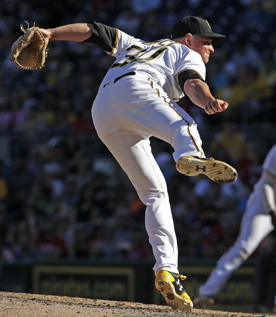 Pittsburgh Pirates relief pitcher Kyle Crick delivers in the eighth inning of a baseball game against the Philadelphia Phillies in Pittsburgh, Saturday, July 7, 2018. (AP Photo/Gene J. Puskar)