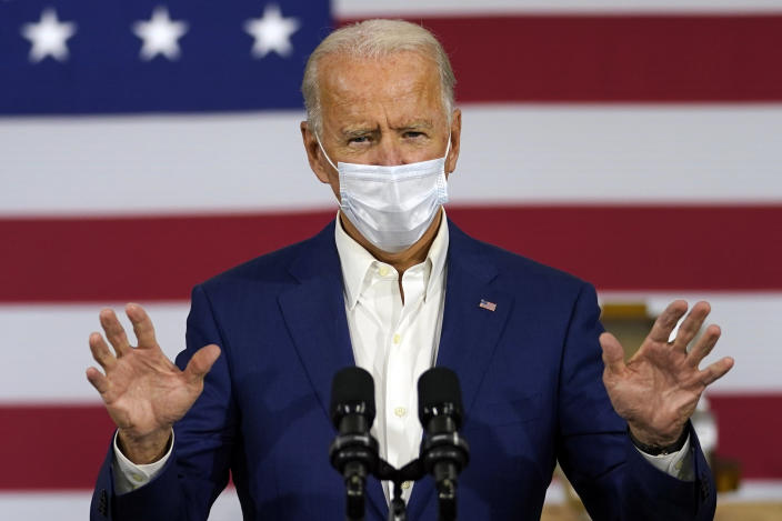 Joe Biden speaks at Wisconsin Aluminum Foundry in Manitowoc, Wis., Monday, Sept. 21, 2020. (Carolyn Kaster/AP)