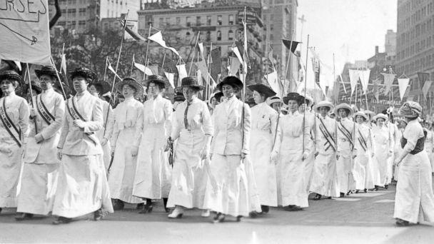 PHOTO: Nurses wearing white Edwardian clothing and sashes reading, 'Votes for Women,' demonstrate in New York in 1913. (Ken Florey Suffrage Collection/Gado/Getty Images)