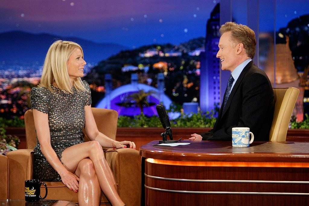 """Gwyneth Paltrow called her 3-year-old son a """"sensitive thug,"""" but what really got people talking were her oily legs. Paul Drinkwater/NBC - June 4, 2009"""
