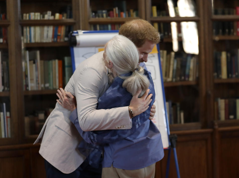WINDSOR, ENGLAND - JULY 23: Prince Harry, Duke of Sussex and Dr Jane Goodall hug as he attends Dr. Jane Goodall's Roots & Shoots Global Leadership Meeting at Windsor Castle on July 23, 2019 in Windsor, England. (Photo by Kirsty Wigglesworth - WPA Pool/Getty Images)