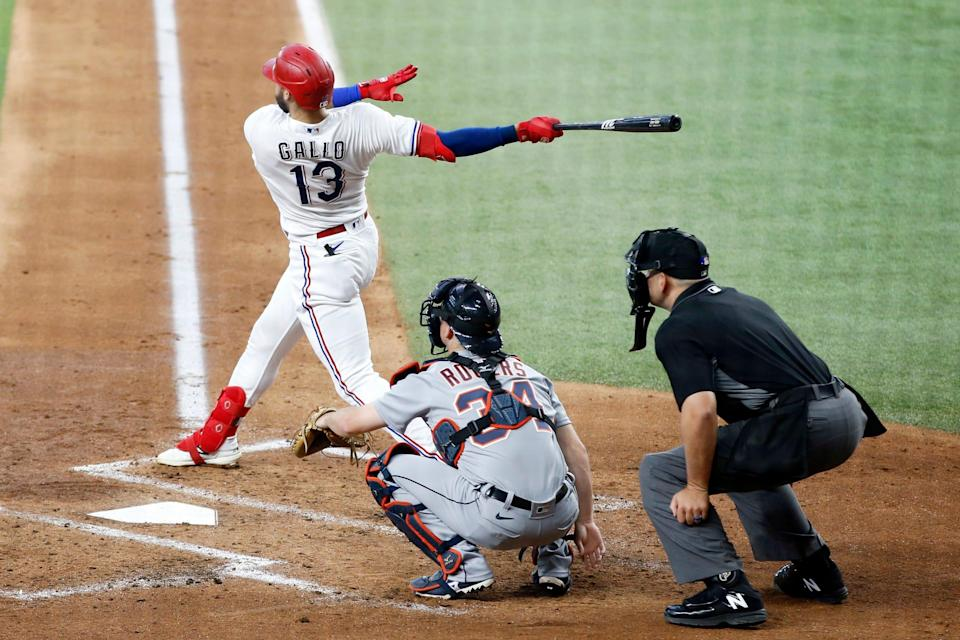Texas Rangers right fielder Joey Gallo (13) hits a home run in the second inning against the Detroit Tigers at Globe Life Field. Wednesday, July 7, 2021.