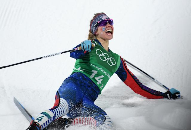 <p>Jessica Diggins of the United States celebrates as she wis gold during the Cross Country Ladies' Team Sprint Free Final on day 12 of the PyeongChang 2018 Winter Olympic Games at Alpensia Cross-Country Centre on February 21, 2018 in Pyeongchang-gun, South Korea. (Photo by Matthias Hangst/Getty Images) </p>