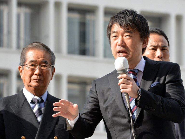 Osaka Mayor Toru Hashimoto gives a speech on November 29, 2012