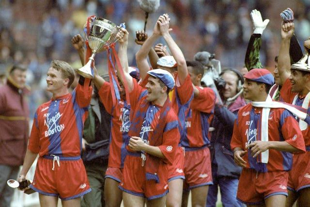 Crystal Palace celebrate their 4-1 victory over Everton in the Zenith Data Cup Final at Wembley