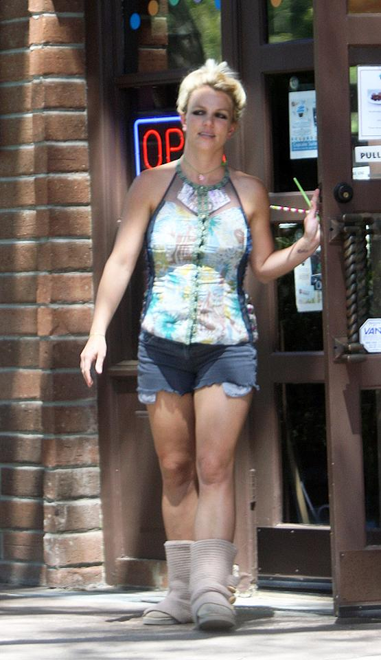 """Earlier this week, Britney Spears found herself in our weekly 2 Hot 2 Handle gallery thanks to the adorable <a target=""""_blank"""" href=""""http://omg.yahoo.com/photos/2-hot-2-handle-06-13-slideshow/britney-spears-photo-1339546634.html"""">Azzadine Alaia dress and Miu Miu peep-toes</a> she wore to the latest """"X Factor"""" taping in Kansas City, Missouri. But, days later, the pop tart was back to her old ways -- and back in What Were They Thinking?! -- when she didn't have a team of stylists pulling her together. As a result, she popped by a SoCal ice cream shop in this hand-picked outfit, which consisted of an unsightly, mesh-paneled blouse, barely-there denim cutoffs, and tired Ugg boots. Of course Brit is allowed to tone down her look while running errands; we were just a bit taken aback after recently seeing her appear so polished. (6/12/2012)<br><br><a target=""""_blank"""" href=""""http://bit.ly/lifeontheMlist"""">Follow What Were They Thinking?! creator, Matt Whitfield, on Twitter!</a><br><br><a target=""""_blank"""" href=""""http://www.kmpressgroup.com/"""">To inquire about more celeb pics, head over to KM Press Group.</a>"""
