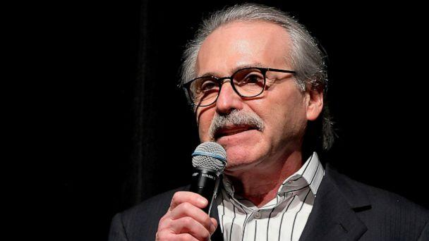 PHOTO: In this Jan. 31, 2014 photo, David Pecker, chairman and CEO of American Media, addresses those attending the Shape & Men's Fitness Super Bowl Party in New York. (Marion Curtis via AP)