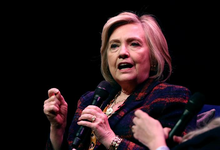 """Clinton at an event promoting """"The Book of Gutsy Women,"""" which she co-authored with daughter Chelsea, in London. (Photo: Simon Dawson/Reuters)"""