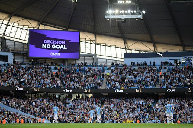 The big screen shows the VAR decision of No Goal for Gabriel Jesus of Manchester City third goal during the Premier League match between Manchester City and Tottenham Hotspur. (Photo by Shaun Botterill/Getty Images)